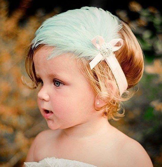 承承媽咪【A81】兒童攝影嬰兒童頭飾頭花髮帶 花朵羽毛寶寶蕾絲水鑽髮飾 / 粉綠色羽毛