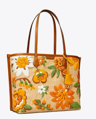 Tory Burch PERRY EMBROIDERED STRAW TRIPLE-COMPARTMENT TOTE