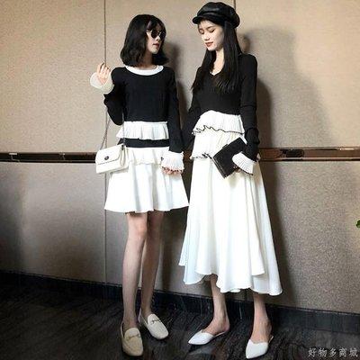 好物多商城 秋裝新款復古中長款裙子蛋糕裙修身收腰喇叭袖氣質連衣裙女裝