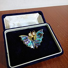 vintage 日本 珍珠 彩貝 蝴蝶造型 古著 胸針 墬飾 胸章
