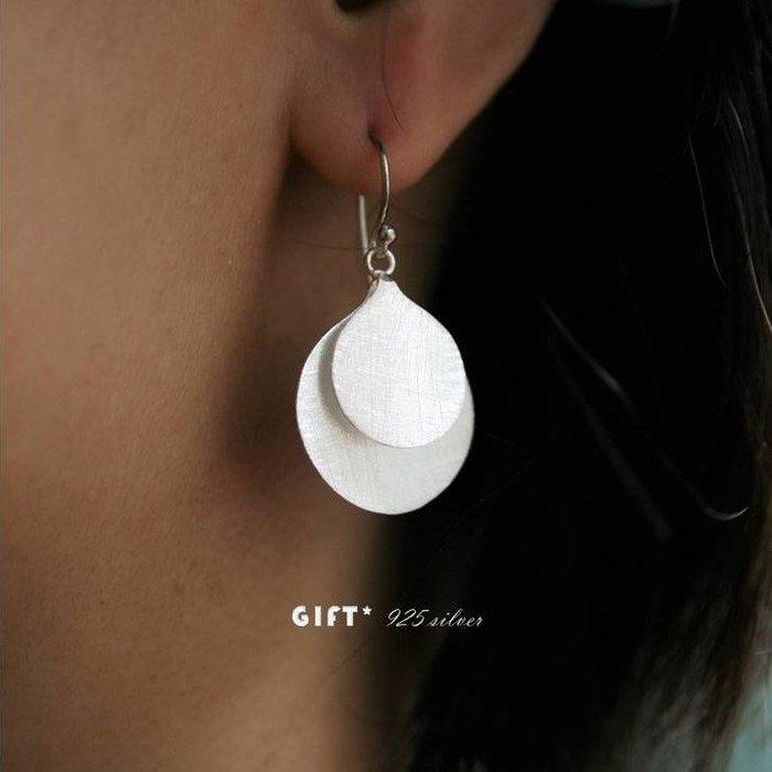 925 silver【極簡時尚:雙圓】925純銀耳飾 純銀耳環 垂墜耳環【925純銀】