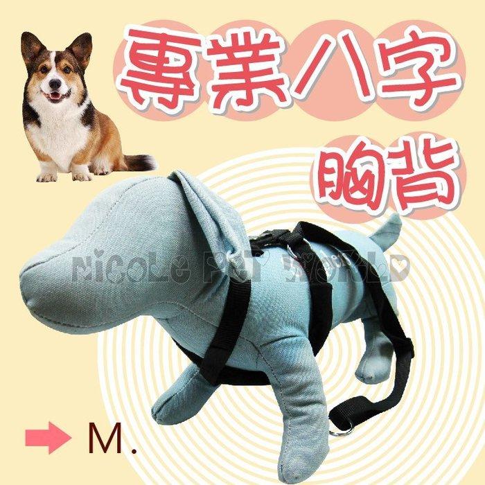 *Nicole寵物*寵物專業八字胸背〈M號;中型犬〉襯墊緩衝,不勒脖子,頸圈,項圈,耐用,耐磨,精密編織,拉繩,狗,犬,