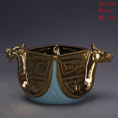 宋代汝窯天青釉鎏金描金雙龍洗出土文物   古瓷器古玩古董收藏擺件