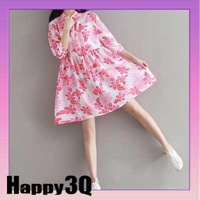 細肩帶領子短袖條紋花朵荷葉繡印花綁帶洋裝連身無袖短裙3號-多色S-2L【AAA0550】預購