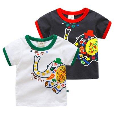 🚛NO.108童衣著【現貨】兒童90~140cm 純棉 塗鴉象短袖上衣 撞色圓領雙面圖案短T恤