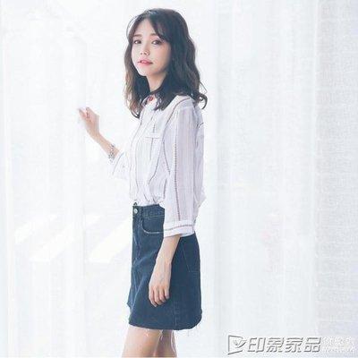 哆啦本鋪 2019春夏新款棉麻立領襯衫女上衣T恤韓版學生寬鬆豎條紋INS打底衫 D655