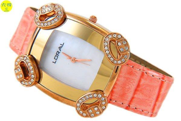 @(六四三精品)@LORAL(真品)四環圈圈美型水鑽玫瑰金色手錶~!貝殼錶面!