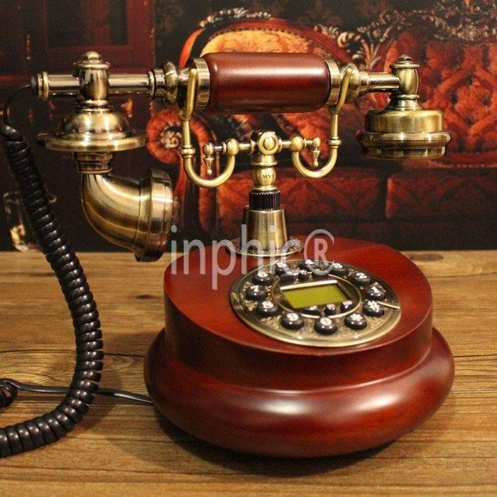 INPHIC-歐式復古電話機實木座機電話家用固定電話復古電話機
