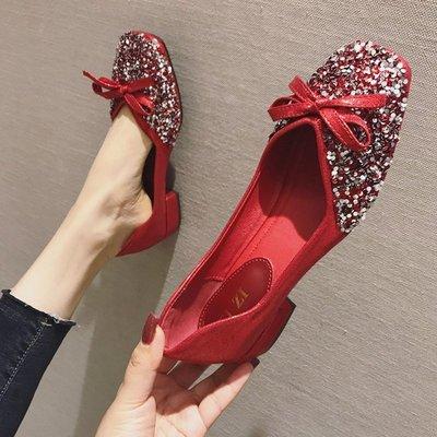 iFashion女鞋豆豆鞋女2021秋季新款婚鞋粗跟亮片紅色低跟四季單鞋方頭大碼女鞋