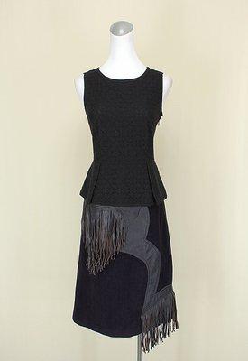 ◄貞新►G2000 專櫃 黑色圓領無袖棉質上衣S(34號)+EXCLUSIVE 靛紫毛料針織及膝裙S(36(29313)