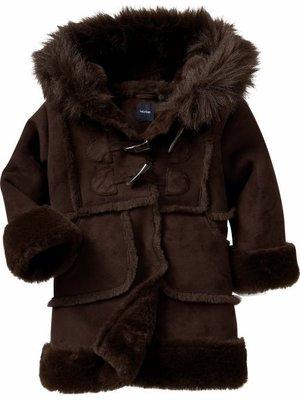 babyGap 小女孩深咖啡色麂皮毛毛帽牛角扣氣質外套(4T) g(687668) ~全新正品