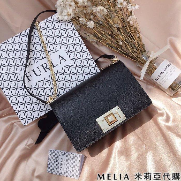Melia 米莉亞代購 商城特價 數量有限 FURLA MINI 斜背包 牛皮魚子醬紋 時尚簡約 氣質百搭 黑色