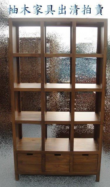 宏品二手傢俱 便宜零碼家具拍賣*P850原木 柚木12格三抽屜書櫃*書架/雜誌架/展示架/酒櫃