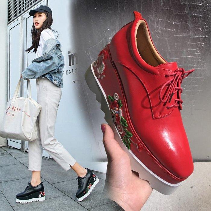 Fashion*厚底鞋 松糕鞋 真皮系帶高跟鞋 刺繡紅色高跟百搭坡跟鞋 黑色*紅色 33-40碼