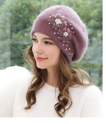 SR 優雅花朵手工釘珠加厚保暖兔羊毛毛線帽 毛帽 4色