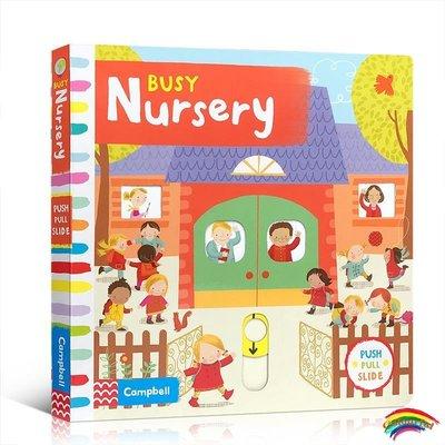 英文原版進口繪本 Busy系列 Busy Nursery 繁忙的托兒所 兒童啟蒙親子互動 鍛煉手部發育紙板書 趣味推拉機關操作玩具書 2-6歲