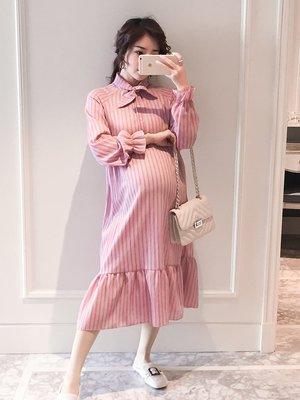 時尚新款孕婦裝條紋韓版中長款連衣裙時尚款2019新款春裝大碼襯衣裙上衣潮