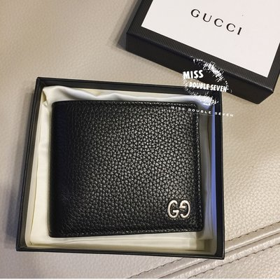 Gucci 皮夾 男夾 短夾 Leather Wallet 真皮簡約logo短夾
