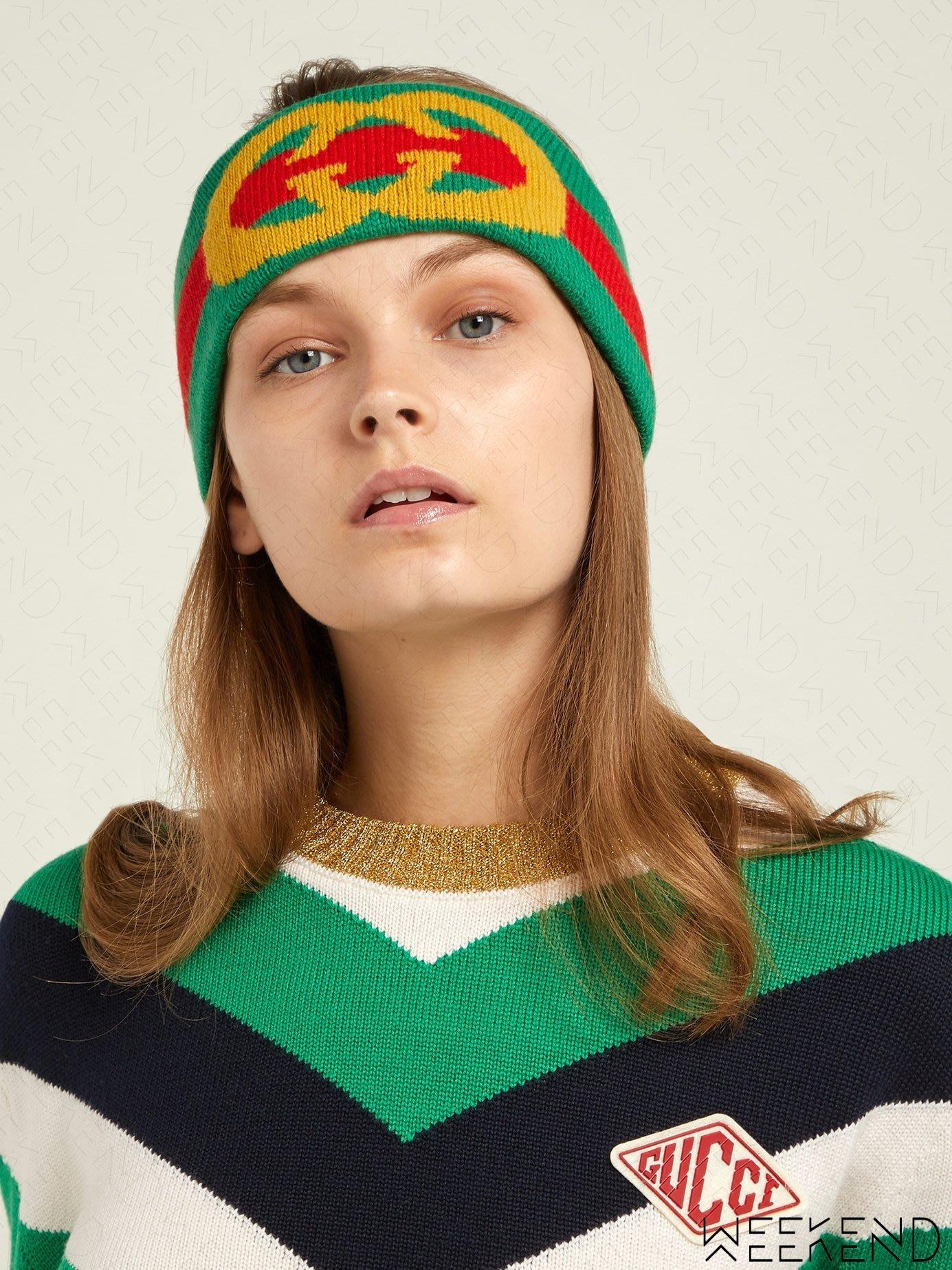 【WEEKEND】 GUCCI GG Logo 頭帶 頭巾 髮帶 綠+紅色 18秋冬 524753