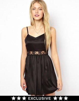 現貨M 英國製的 made in UK 黑色腰間性感蕾絲細肩帶法式洋裝 原價約一千八