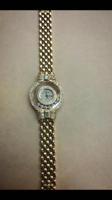 Chopard 蕭邦蝴蝶結快樂鑽,18K金鑽錶 原鑲鑽