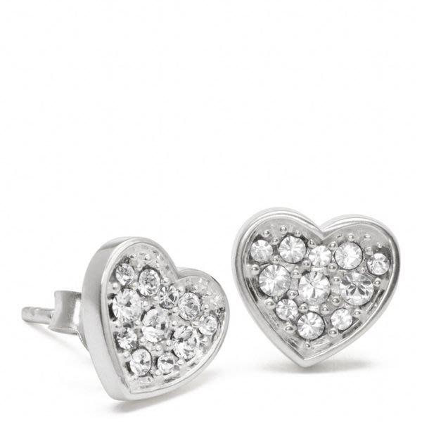 破盤清倉大降價!全新美國名牌 COACH 銀質鑲水晶心形造型耳環!情人節生日禮最佳選擇!低價起標無底價!本商品免運費!