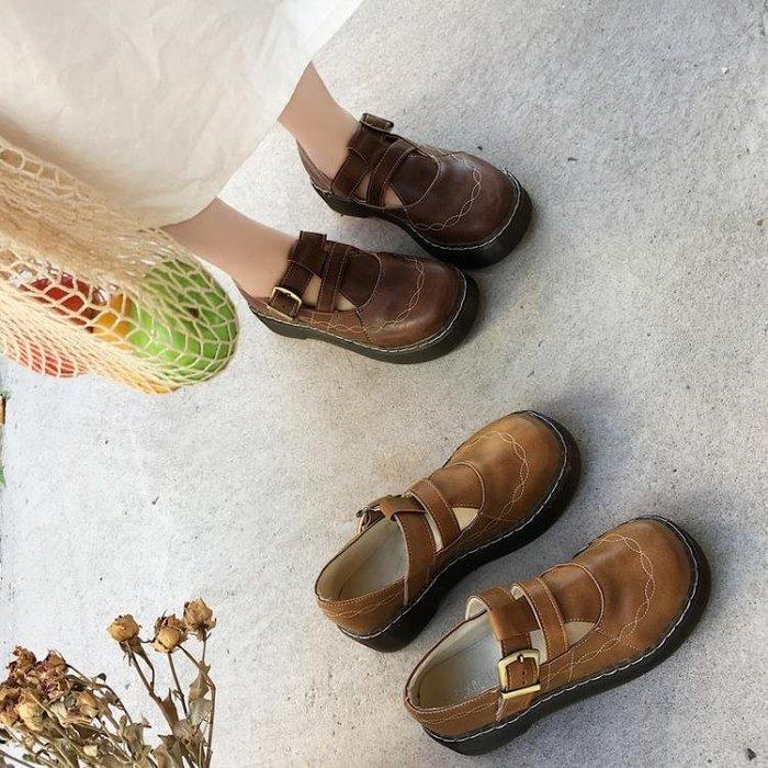 韓國ulzzang原宿萌妹復古森系馬丁單鞋英倫學院風百搭圓頭小皮鞋