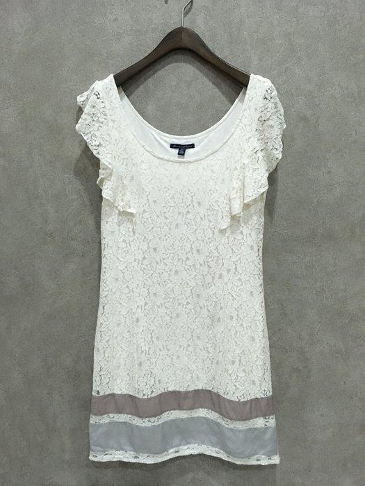 Maple麋鹿小舖 American Eagle * AE  米白色蕾絲設計荷葉袖洋裝 * ( 現貨S號 )