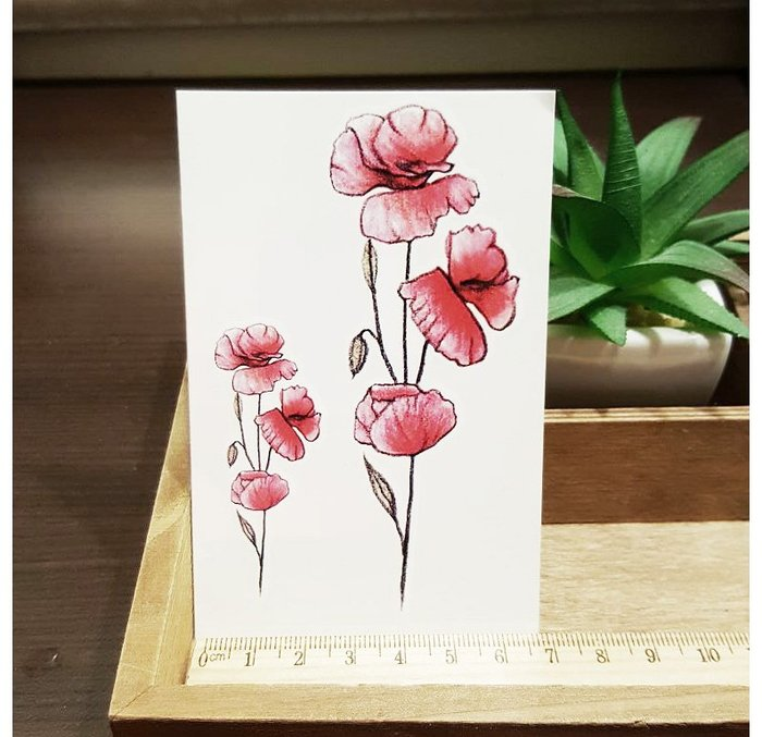 【萌古屋】L系列紅色花朵 - 男女防水韓風簡約紋身貼紙刺青貼紙K31