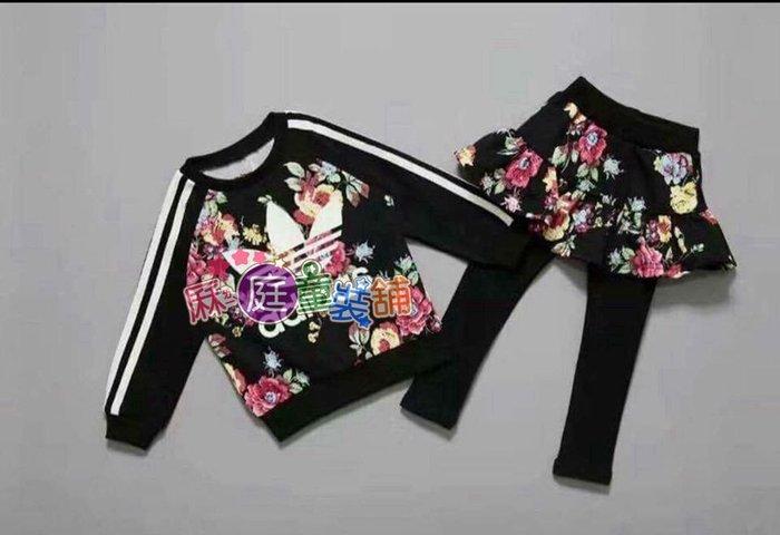 ❤厤庭童裝舖❤最後一套【C267】女孩花朵運動風薄刷毛裙褲套裝(17號)小NG出清
