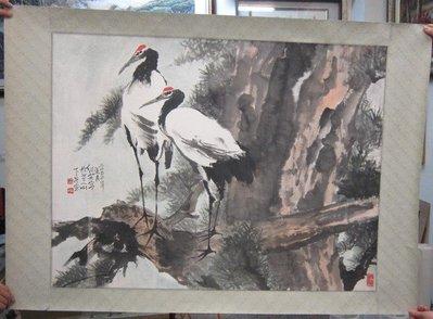 『府城畫廊-手繪國畫』白鶴畫-85x120-(可加框)-歡迎查看關於我來聯繫