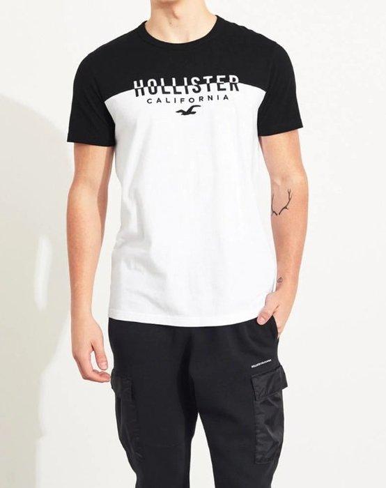 HCO Hollister 海鷗 車繡logo 短T 黑/白撞色