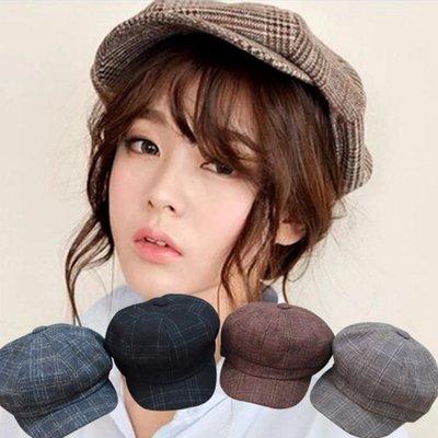 糖衣子輕鬆購【DZ0457】日系英倫風復古文藝格子八角帽畫家帽貝雷帽