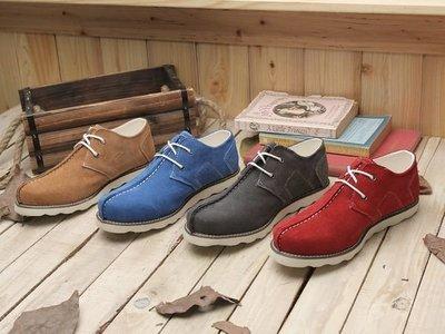 格子舖*【KV3781】零碼40.42 固特異磨毛牛皮雅痞潮流真皮休閒鞋麂皮靴