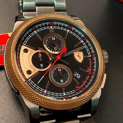 FERRARI法拉利男錶,編號FE00008,46mm玫瑰金圓形精鋼錶殼,黑色三眼, 運動錶面,鐵灰色精鋼錶帶款