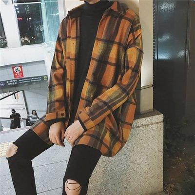 Chita Man + 格紋呢料 落肩寬版 休閒襯衫