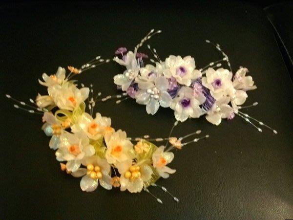 B. & W. world *美美的花飾*R13039*淺橘色、淺紫色小玫瑰花*新娘頭花 *俏麗佳人