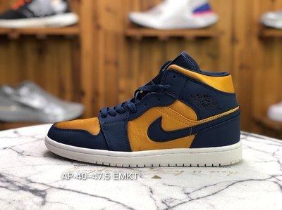 Air Jordan 1 Mid Stain Gold 絲綢 藍金 籃球 男 852542-401休閒慢跑鞋潮
