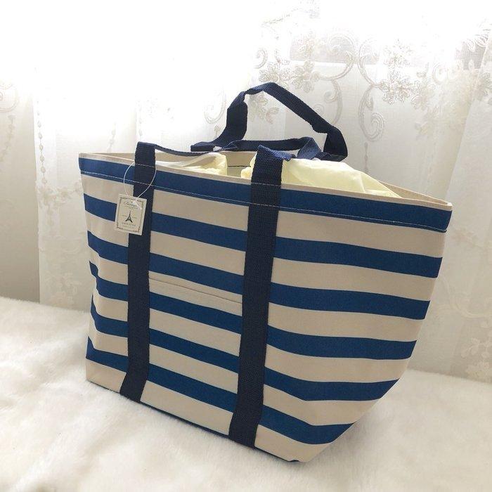 藍條紋大束口保溫野餐包/蔬果冷飲保溫袋/超市保鮮購物袋