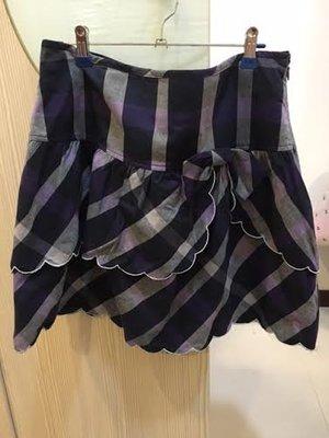 小花別針、百貨專櫃【 MA TSU MI】紫色格紋短裙