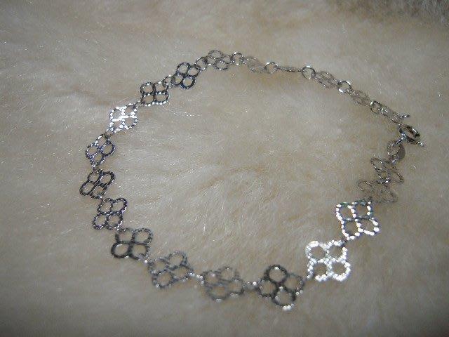 ※水晶玫瑰※ 925純銀水晶鑽幸運草造型手鏈(RD124)