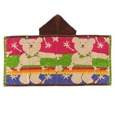 尼德斯Nydus~* 日本正版 彩虹熊 Rainbow Bear 浴巾 連帽 浴袍 披巾 夏威夷款100%純棉-日本製