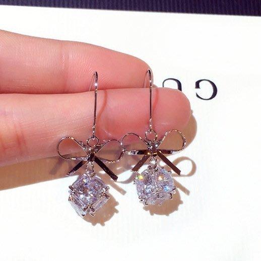 時尚耳環精致超美鑲水鉆蝴蝶結氣質耳釘耳墜女