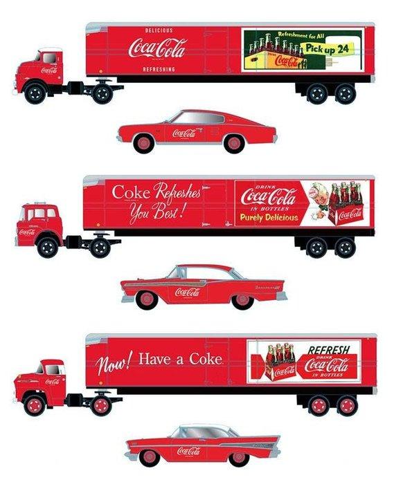 【預購商品】M2 Machines 1:64 Coca-Cola 可口可樂 貨車雙車組合套裝【免訂金】