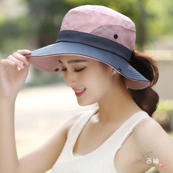 漁夫帽 戶外遮陽帽子情侶漁夫帽女可折疊太陽帽夏季防曬帽騎車旅游登山帽