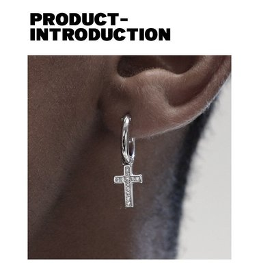 【Result】純銀圓環鑽石十字架耳環 Hiphop 饒舌歌手愛用款 單只