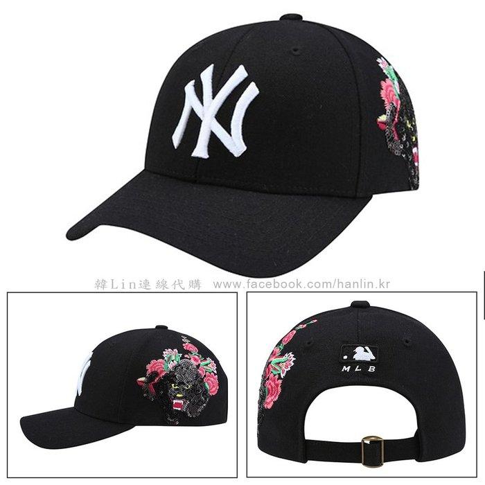 特價【韓Lin連線代購】韓國 MLB --白色NY黑色亮片豹粉色花卉刺繡黑色棒球帽 CPAY New 32CPAY841
