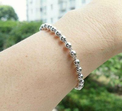 嗨,寶貝銀飾珠寶* 925純銀☆超閃亮 個性光面銀珠 粗4.5mm純銀手鍊 情人節禮物 適合男女配戴
