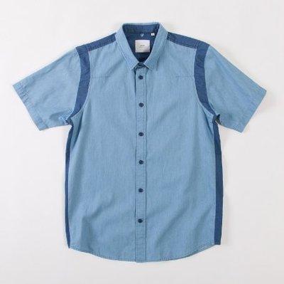[9320]adlib側邊拼色短袖襯衫-0206