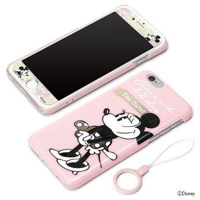 尼德斯Nydus~* 日本正版 迪士尼 米妮 硬殼 保護貼 防落拉環 3件式 手機殼 4.7吋 iPhone 6